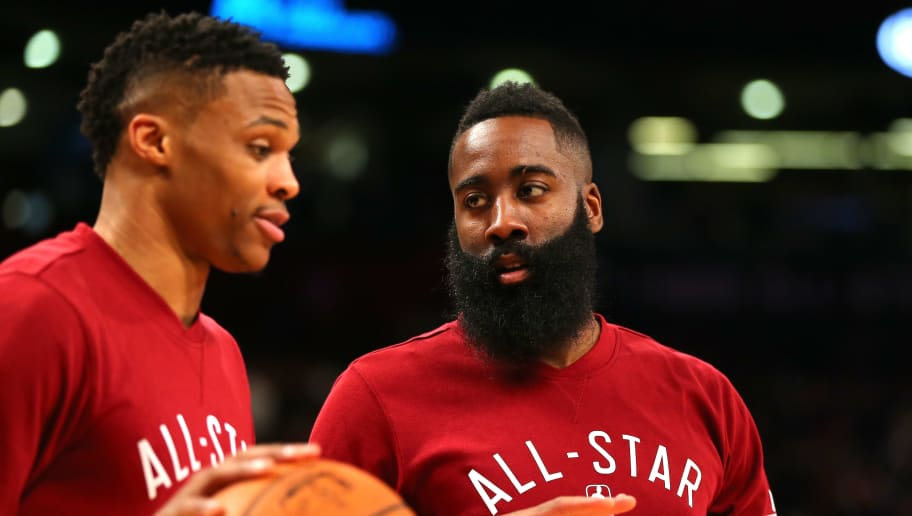 TORONTO, ON - FEBRUARY 14: Russell Westbrook #0 of the Oklahoma City Thunder and the Western Conference and James Harden #13 of the Houston Rockets and the Western Conference warm up before the NBA All-Star Game 2016 at the Air Canada Centre on February 14, 2016 in Toronto, Ontario. NOTE TO USER: User expressly acknowledges and agrees that, by downloading and/or using this Photograph, user is consenting to the terms and conditions of the Getty Images License Agreement.  (Photo by Elsa/Getty Images)