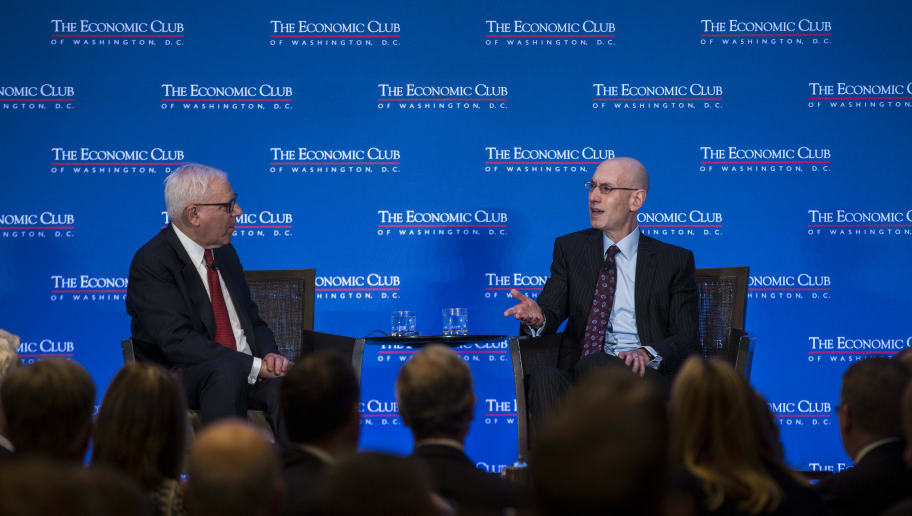 WASHINGTON, DC - MAY 09: NBA Commissioner Adam Silver discusses the state of the NBA and professional sports with Economic Club President David Rubenstein during and event hosted by the Economic Club of Washington, D.C. at the Capitol Hilton on May 9, 2019 in Washington, DC. (Photo by Zach Gibson/Getty Images)