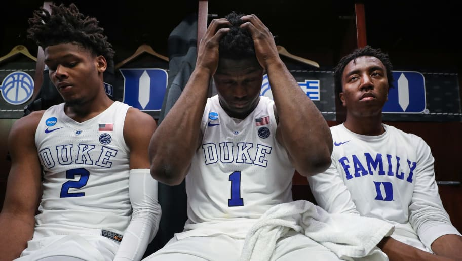 WASHINGTON, DC - MARCH 31: Zion Williamson #1 of the Duke Blue Devils reacts in the locker room after his teams, 68-67, loss to the Michigan State Spartans in the East Regional game of the 2019 NCAA Men's Basketball Tournament at Capital One Arena on March 31, 2019 in Washington, DC. (Photo by Patrick Smith/Getty Images)