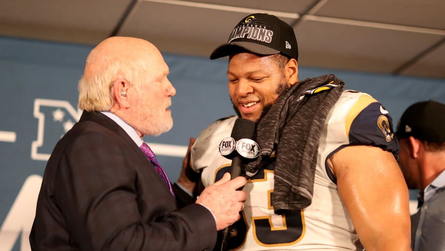 NEW ORLEANS, LOUISIANA - JANUARY 20: Terry Bradshaw interviews Ndamukong Suh #93 of the Los Angeles Rams after defeating the New Orleans Saints in the NFC Championship game at the Mercedes-Benz Superdome on January 20, 2019 in New Orleans, Louisiana. The Los Angeles Rams defeated the New Orleans Saints with a score of 26 to 23. (Photo by Chris Graythen/Getty Images)