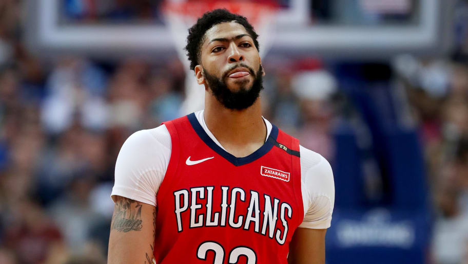 DALLAS, TEXAS - MARCH 18: Anthony Davis #23 of the New Orleans Pelicans walks off the court against the Dallas Mavericks in the first half at American Airlines Center on March 18, 2019 in Dallas, Texas. NOTE TO USER: User expressly acknowledges and agrees that, by downloading and or using this photograph, User is consenting to the terms and conditions of the Getty Images License Agreement. (Photo by Tom Pennington/Getty Images)