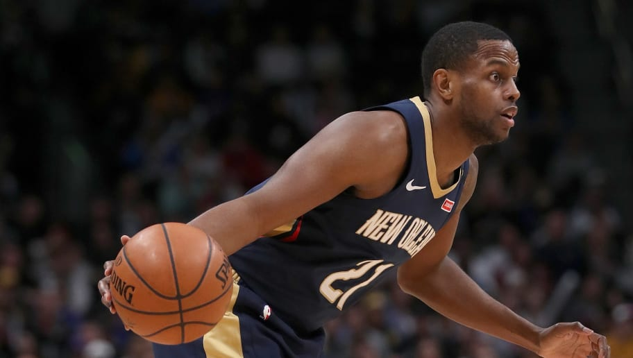 DENVER, COLORADO - MARCH 02: Darius Miller #21 of the New Orleans Pelicans plays the Denver Nuggets at the Pepsi Center on March 02, 2019 in Denver, Colorado. NOTE TO USER: User expressly acknowledges and agrees that, by downloading and or using this photograph, User is consenting to the terms and conditions of the Getty Images License Agreement. (Photo by Matthew Stockman/Getty Images)
