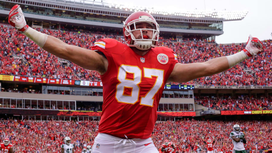 KANSAS CITY, MO - SEPTEMBER 25: Tight end Travis Kelce #87 of the Kansas City Chiefs celebrates in the end zone after scoring the games first touchdown agains the New York Jets at Arrowhead Stadium during the first quarter of the game on September 25, 2016 in Kansas City, Missouri. (Photo by Jamie Squire/Getty Images)