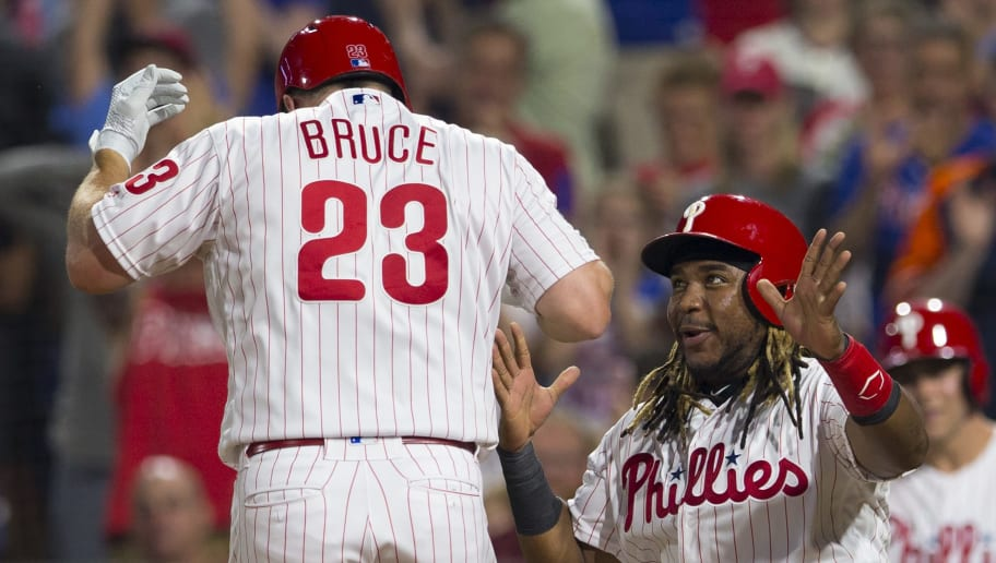 PHILADELPHIA, PA - JUNE 24: Jay Bruce #23 of the Philadelphia Phillies celebrates with Maikel Franco #7 after hitting a pinch-hit two run home run in the bottom of the sixth inning against the New York Mets at Citizens Bank Park on June 24, 2019 in Philadelphia, Pennsylvania. The Phillies defeated the Mets 13-7. (Photo by Mitchell Leff/Getty Images)