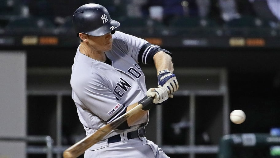 CHICAGO, ILLINOIS - JUNE 13: DJ LeMahieu #26 of the New York Yankees bats against the Chicago White Sox at Guaranteed Rate Field on June 13, 2019 in Chicago, Illinois. The White Sox defeated the Yankees 5-4. (Photo by Jonathan Daniel/Getty Images)