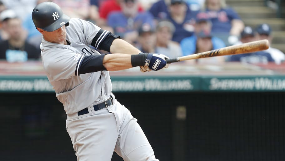 CLEVELAND, OH - JUNE 08:DJ LeMahieu #26 of the New York Yankees bats against the Cleveland Indiansin the eighth inning at Progressive Field on June 8, 2019 in Cleveland, Ohio. The Indians defeated the Yankees 8-4.(Photo by David Maxwell/Getty Images)