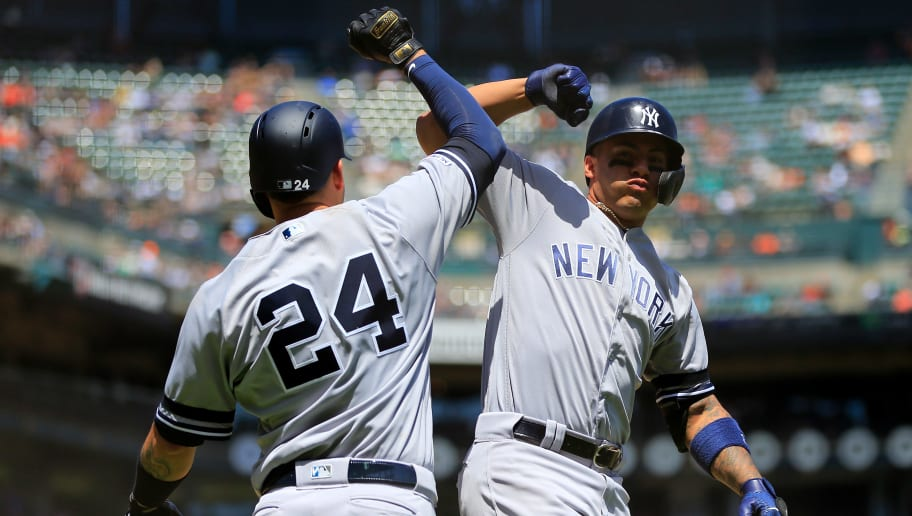 SAN FRANCISCO, CALIFORNIA - APRIL 28: Gleyber Torres #25 of the New York Yankees celebrates a home run with Gary Sanchez #24 during the third inning against the San Francisco Giants at Oracle Park on April 28, 2019 in San Francisco, California. (Photo by Daniel Shirey/Getty Images)