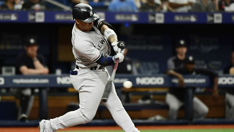 ST. PETERSBURG, FLORIDA - MAY 11: Gleyber Torres #25 of the New York Yankees hits a double off of Ryne Stanek #55 of the Tampa Bay Rays during the second inning at Tropicana Field on May 11, 2019 in St. Petersburg, Florida. (Photo by Julio Aguilar/Getty Images)