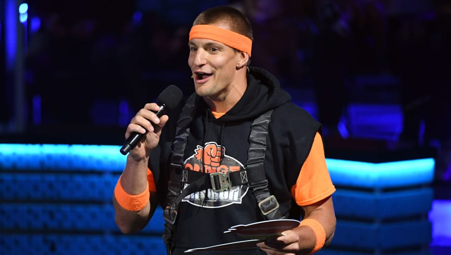 SANTA MONICA, CALIFORNIA - JULY 11: Rob Gronkowski speaks onstage during Nickelodeon Kids' Choice Sports 2019 at Barker Hangar on July 11, 2019 in Santa Monica, California. (Photo by Kevin Winter/Getty Images)