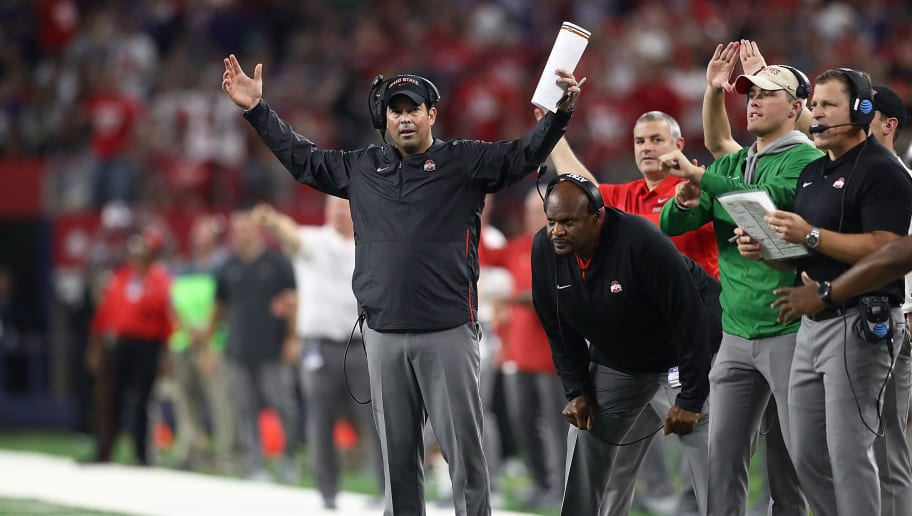ARLINGTON, TX - SEPTEMBER 15:  Interim head coach Ryan Day of the Ohio State Buckeyes reacts during The AdvoCare Showdown against the TCU Horned Frogs at AT&T Stadium on September 15, 2018 in Arlington, Texas.  (Photo by Ronald Martinez/Getty Images)
