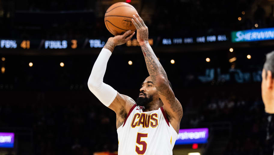 CLEVELAND, OH - NOVEMBER 7: JR Smith #5 of the Cleveland Cavaliers shoots a three during the second half against the Oklahoma City Thunder  at Quicken Loans Arena on November 7, 2018 in Cleveland, Ohio. The Thunder defeated the Cavaliers 95-86. NOTE TO USER: User expressly acknowledges and agrees that, by downloading and/or using this photograph, user is consenting to the terms and conditions of the Getty Images License Agreement. (Photo by Jason Miller/Getty Images)
