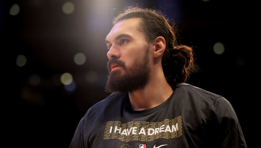 NEW YORK, NEW YORK - JANUARY 21:   Steven Adams #12 of the Oklahoma City Thunder looks on during a time out in the second half against the New York Knicks at Madison Square Garden on January 21, 2019 in New York City.NOTE TO USER: User expressly acknowledges and agrees that, by downloading and or using this photograph, User is consenting to the terms and conditions of the Getty Images License Agreement.  (Photo by Elsa/Getty Images)