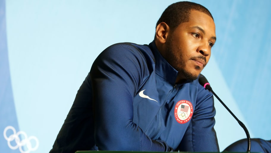 RIO DE JANEIRO, BRAZIL - AUGUST 04:  Carmelo Anthony of the United States speaks with the media during a press conference at the Main Press Centre ahead of the Rio 2016 Olympic Games on August 4, 2016 in Rio de Janeiro, Brazil.  (Photo by Chris Graythen/Getty Images)