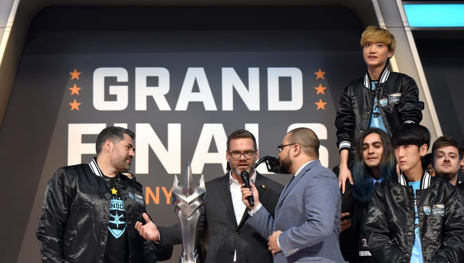 NEW YORK, NY - JULY 28:  Commissioner at Overwatch League Nate Nanzer (C) speaks as the London Spitfire Team celebrates onstage after winning the Overwatch League Grand Finals - Day 2 at Barclays Center on July 28, 2018 in New York City.  (Photo by Bryan Bedder/Getty Images for Blizzard Entertainment )
