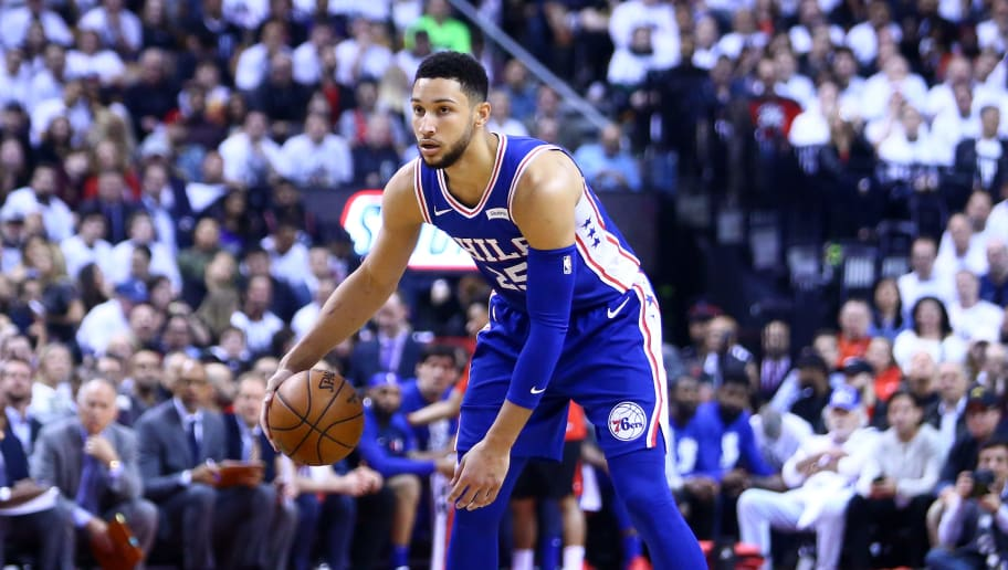 TORONTO, ON - MAY 07:  Ben Simmons #25 of the Philadelphia 76ers dribbles the ball during Game Five of the second round of the 2019 NBA Playoffs against the Toronto Raptors at Scotiabank Arena on May 7, 2019 in Toronto, Canada.  NOTE TO USER: User expressly acknowledges and agrees that, by downloading and or using this photograph, User is consenting to the terms and conditions of the Getty Images License Agreement.  (Photo by Vaughn Ridley/Getty Images)