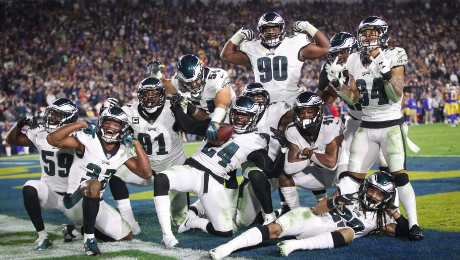 LOS ANGELES, CA - DECEMBER 16: Philadelphia Eagles react after a fumble recovery in the third quarter against the Los Angeles Rams at Los Angeles Memorial Coliseum on December 16, 2018 in Los Angeles, California. (Photo by Sean M. Haffey/Getty Images)