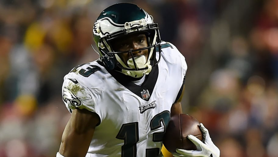 LANDOVER, MD - DECEMBER 30: Nelson Agholor #13 of the Philadelphia Eagles runs against the Washington Redskins during the second half at FedExField on December 30, 2018 in Landover, Maryland. (Photo by Will Newton/Getty Images)