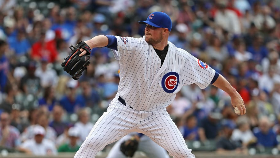 CHICAGO, IL - MAY 27:  Starting pitcher Jon Lester #34 of the Chicago Cubs delivers the ball against the Philadelphia Phillies at Wrigley Field on May 27, 2016 in Chicago, Illinois. The Cubs defeated the Phillies 6-2.  (Photo by Jonathan Daniel/Getty Images)