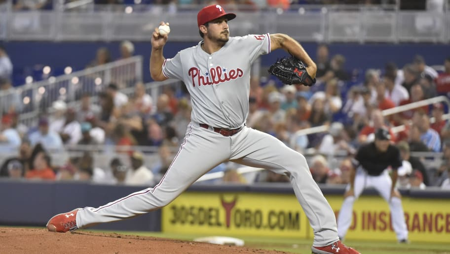 MIAMI, FL - JUNE 29: Zach Eflin #56 of the Philadelphia Phillies throws a pitch during the game against the Miami Marlins at Marlins Park on June 29, 2019 in Miami, Florida. (Photo by Eric Espada/Getty Images)