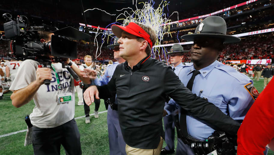 ATLANTA, GA - DECEMBER 01:  Head coach Kirby Smart of the Georgia Bulldogs reacts after the Alabama Crimson Tide defeated the Georgia Bulldogs 35-28 in the 2018 SEC Championship Game at Mercedes-Benz Stadium on December 1, 2018 in Atlanta, Georgia.  (Photo by Kevin C. Cox/Getty Images)