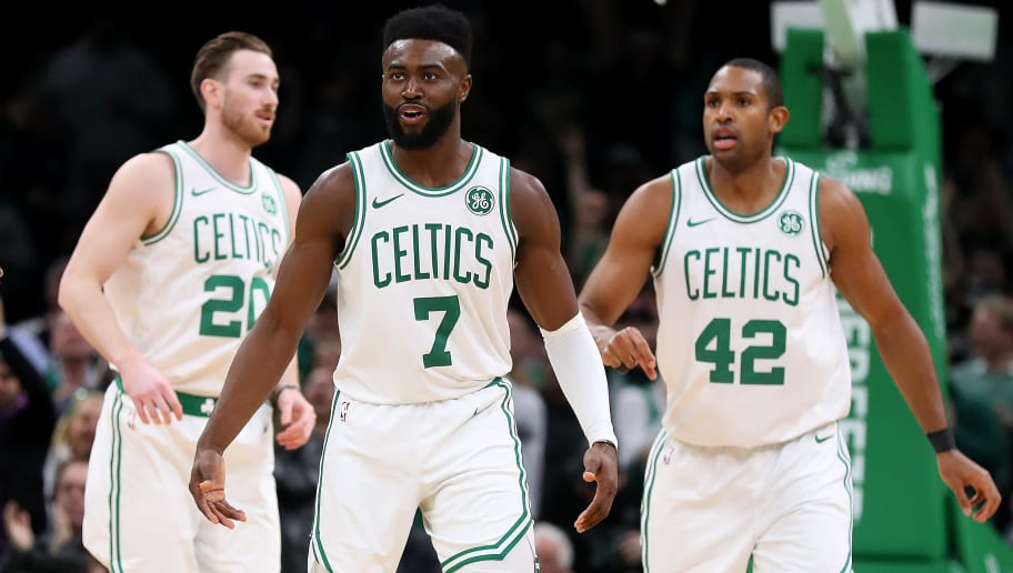 BOSTON, MASSACHUSETTS - MARCH 14: Jaylen Brown #7 of the Boston Celtics celebrates with Al Horford #42 and Gordon Hayward #20 during the second half of the game against the Sacramento Kings at TD Garden on March 14, 2019 in Boston, Massachusetts. The Celtics defeat the Kings 126-120. (Photo by Maddie Meyer/Getty Images)