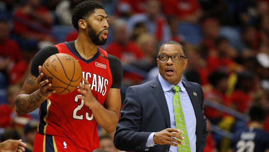 NEW ORLEANS, LA - OCTOBER 19:  Head coach Alvin Gentry of the New Orleans Pelicans and Anthony Davis #23 reacts during the first half against the Sacramento Kings at the Smoothie King Center on October 19, 2018 in New Orleans, Louisiana. NOTE TO USER: User expressly acknowledges and agrees that, by downloading and or using this photograph, User is consenting to the terms and conditions of the Getty Images License Agreement.  (Photo by Jonathan Bachman/Getty Images)