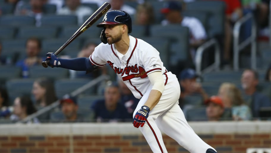 ATLANTA, GEORGIA - APRIL 29:   Ender Inciarte #11 of the Atlanta Braves hits a single in the third inning during the game against the San Diego Padres at SunTrust Park on April 29, 2019 in Atlanta, Georgia. (Photo by Mike Zarrilli/Getty Images)
