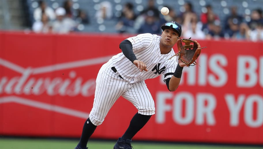 NEW YORK, NEW YORK - MAY 29:  Thairo Estrada #30 of the New York Yankees makes the final out of the game in a 7-0 win against the San Diego Padres during their game at Yankee Stadium on May 29, 2019 in New York City. (Photo by Al Bello/Getty Images)