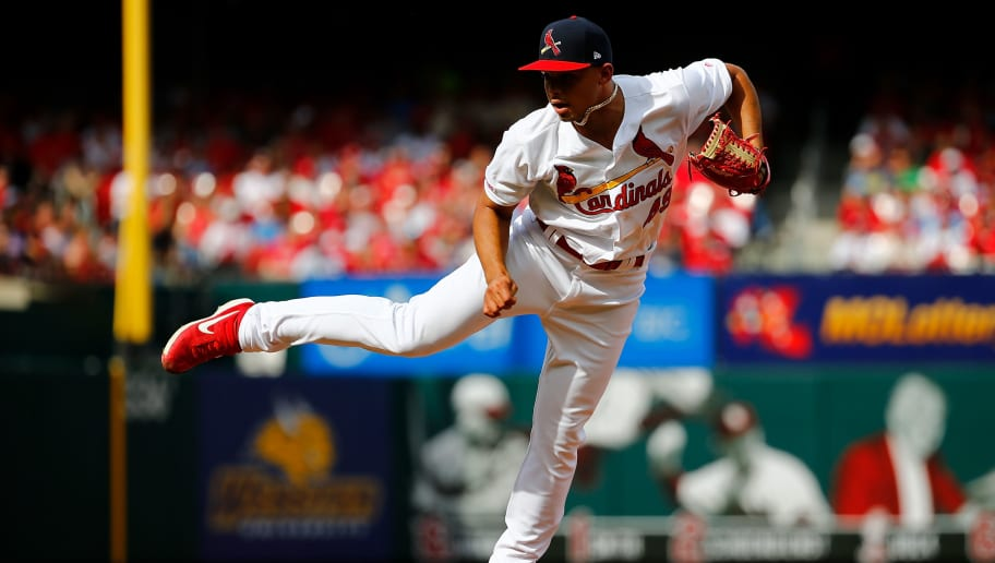 ST. LOUIS, MO - APRIL 7: Jordan Hicks #49 of the St. Louis Cardinals delivers a pitch against the San Diego Padres in the eighth inning at Busch Stadium on April 7, 2019 in St. Louis, Missouri.  (Photo by Dilip Vishwanat/Getty Images)