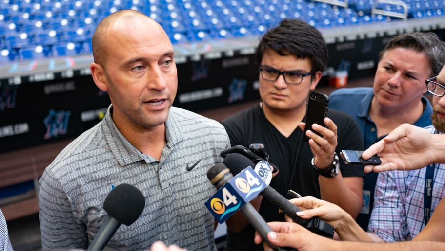 MIAMI, FL - MAY 29: Chief Executive Officer of the Miami Marlins Derek Jeter speaks with the media prior to the game between the Miami Marlins and the San Francisco Giants at Marlins Park on May 29, 2019 in Miami, Florida. (Photo by Mark Brown/Getty Images)