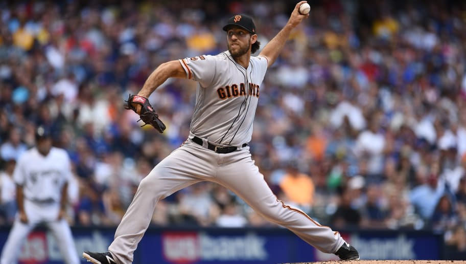 MILWAUKEE, WISCONSIN - JULY 13:  Madison Bumgarner #40 of the San Francisco Giants delivers a pitch during the fourth inning against the Milwaukee Brewers at Miller Park on July 13, 2019 in Milwaukee, Wisconsin. (Photo by Stacy Revere/Getty Images)
