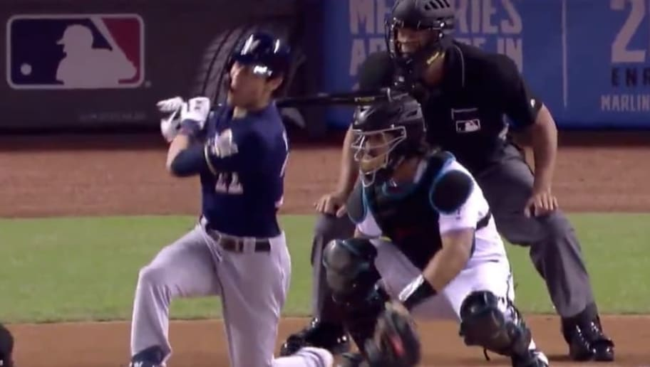 VIDEO: Christian Yelich Leaves Game Against Marlins After Fouling Ball off Knee