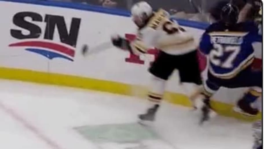 Brad Marchand gets caught with clear trip of Alex Pietrangelo during Game 6 of the Stanley Cup Final