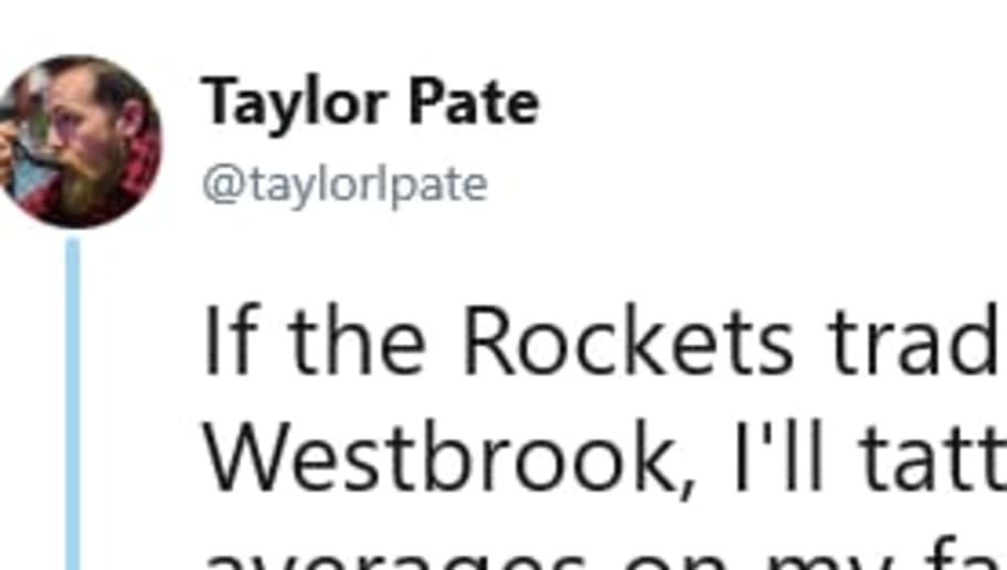 A random Twitter user has to pay up on tattoo bet after Rockets acquire Russell Westbrook.