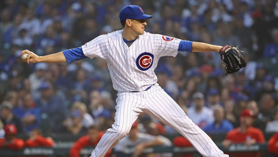 CHICAGO, ILLINOIS - JUNE 09: Starting pitcher Kyle Hendricks #28 of the Chicago Cubs pitches against the St. Louis Cardinals at Wrigley Field on June 09, 2019 in Chicago, Illinois. (Photo by Jonathan Daniel/Getty Images)