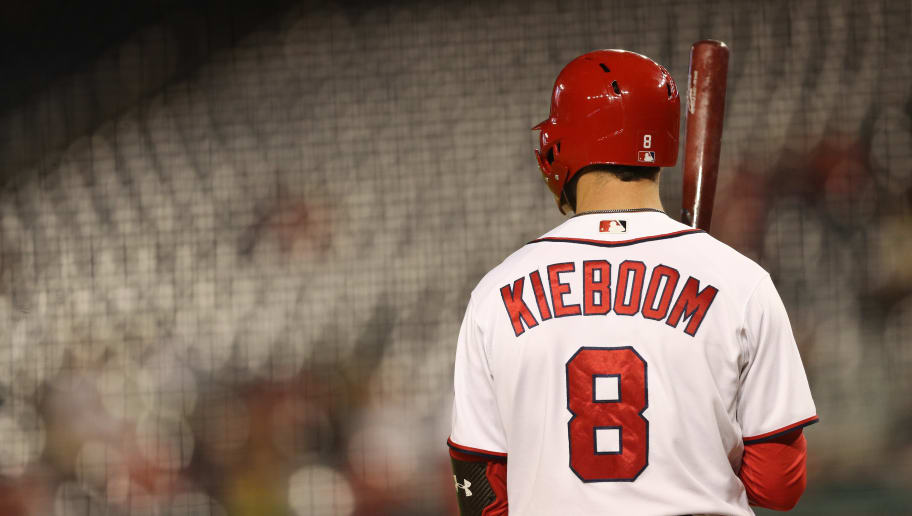 WASHINGTON, DC - APRIL 29: Carter Kieboom #8 of the Washington Nationals bats against the St. Louis Cardinals at Nationals Park on April 29, 2019 in Washington, DC. (Photo by Patrick Smith/Getty Images)