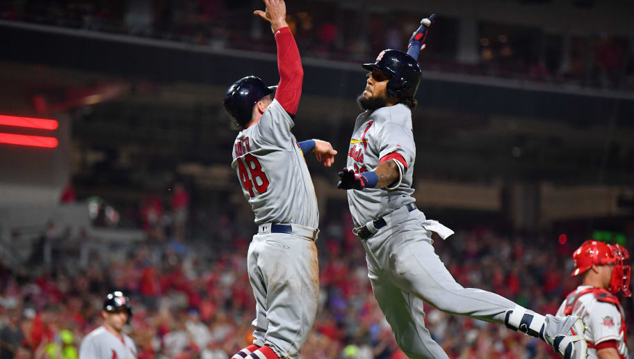 CINCINNATI, OH - JULY 19:  Jose Martinez #38 of the St. Louis Cardinals celebrates with Harrison Bader #48 of the St. Louis Cardinals after hitting a three-run home run to complete a 10-run sixth inning against the Cincinnati Reds at Great American Ball Park on July 19, 2019 in Cincinnati, Ohio.  (Photo by Jamie Sabau/Getty Images)