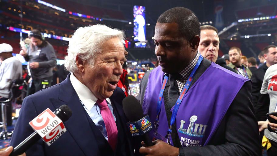 ATLANTA, GEORGIA - FEBRUARY 03:  Robert Kraft is interviewed after his teams 13-3 win over the Los Angeles Rams during Super Bowl LIII at Mercedes-Benz Stadium on February 03, 2019 in Atlanta, Georgia. (Photo by Maddie Meyer/Getty Images)