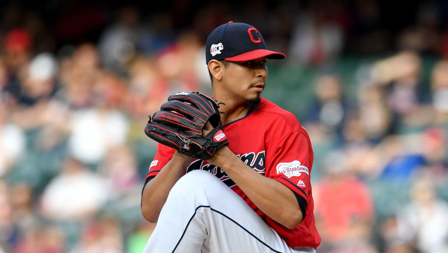 CLEVELAND, OHIO - MAY 25: Starting pitcher Carlos Carrasco #59 of the Cleveland Indians pitches during the first inning against the Tampa Bay Rays at Progressive Field on May 25, 2019 in Cleveland, Ohio. (Photo by Jason Miller/Getty Images)