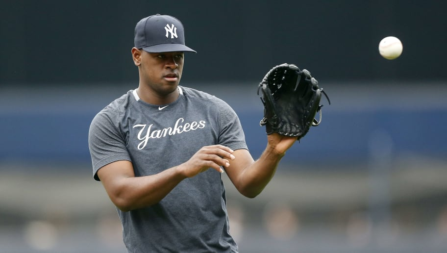 NEW YORK, NEW YORK - JUNE 19:   Luis Severino #40 of the New York Yankees warms up on the field prior to a game against the Tampa Bay Rays at Yankee Stadium on June 19, 2019 in New York City. (Photo by Jim McIsaac/Getty Images)