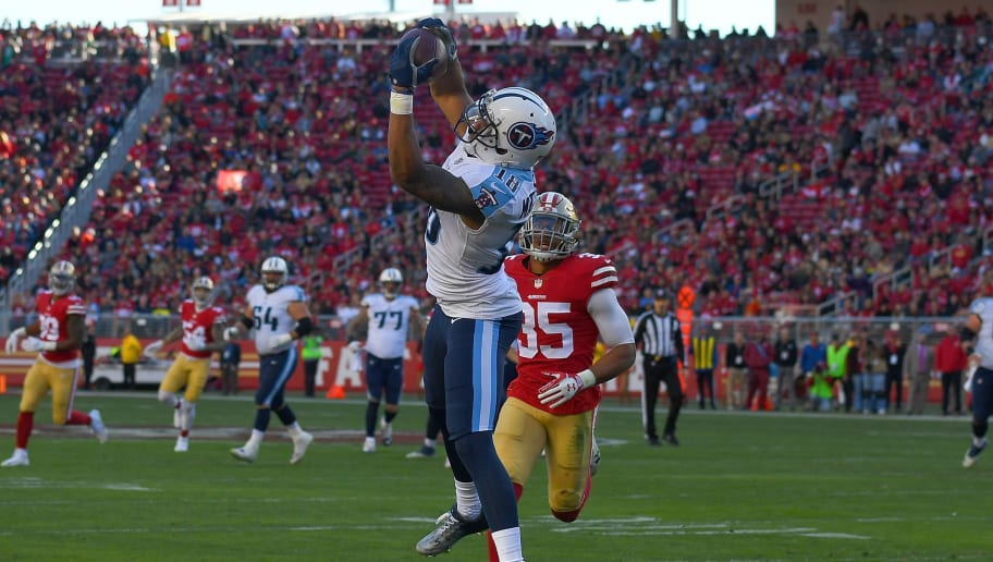 SANTA CLARA, CA - DECEMBER 17:  Rishard Matthews #18 of the Tennessee Titans catches a 25-yard pass against the San Francisco 49ers during their NFL football game at Levi's Stadium on December 17, 2017 in Santa Clara, California.  (Photo by Thearon W. Henderson/Getty Images)