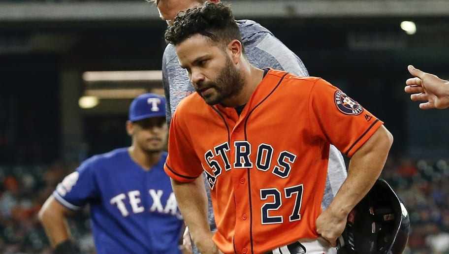 HOUSTON, TX - MAY 10:  Jose Altuve #27 of the Houston Astros leaves the game in the first inning against the Texas Rangers at Minute Maid Park on May 10, 2019 in Houston, Texas.  (Photo by Tim Warner/Getty Images)