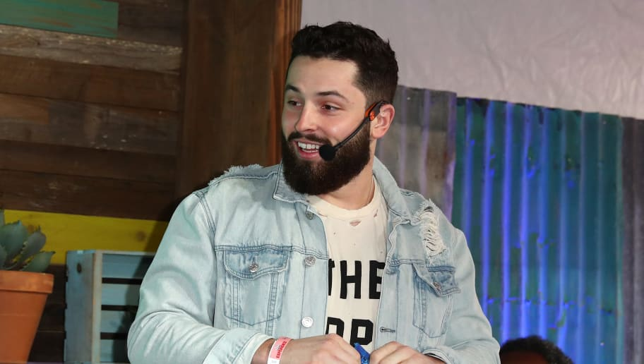 ATLANTA, GA - FEBRUARY 01:  Professional football player Baker Mayfield competes in Nacho Face-Off at The Tostitos Cantina at Super Bowl LIVE in Atlanta, Georgia.  (Photo by Joe Scarnici/Getty Images for Tostitos)