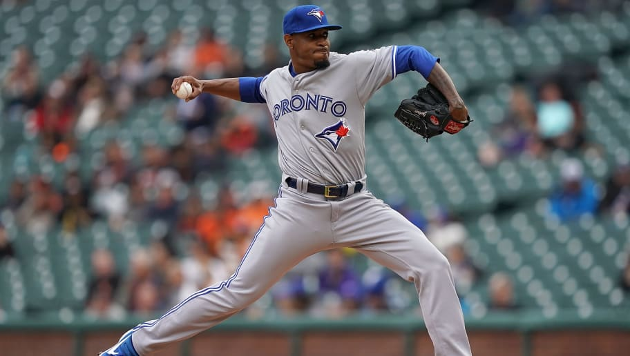 SAN FRANCISCO, CA - MAY 15:  Edwin Jackson #33 of the Toronto Blue Jays pitches against the San Francisco Giants in the bottom of the first inning of a Major League Baseball game at Oracle Park on May 15, 2019 in San Francisco, California.  (Photo by Thearon W. Henderson/Getty Images)