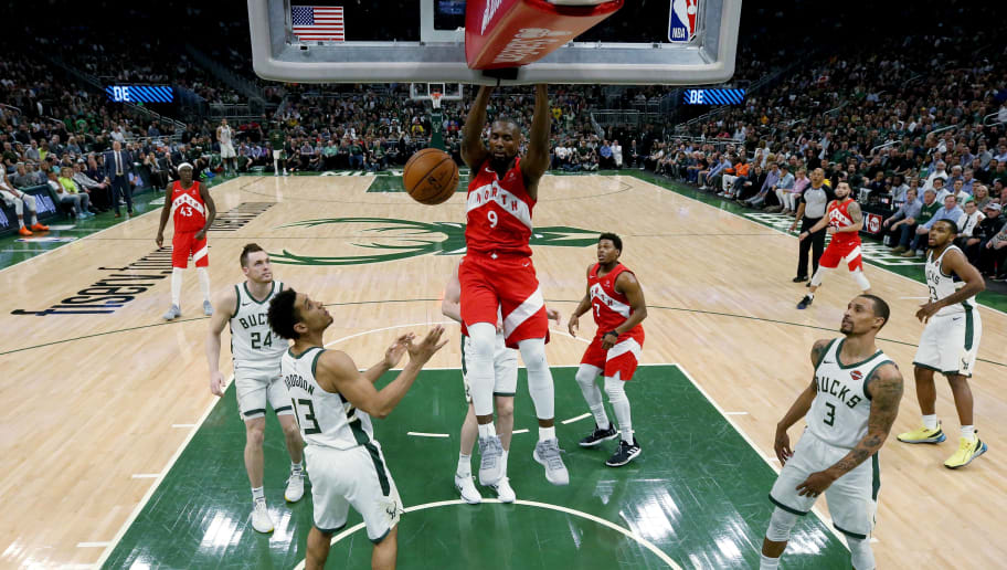 MILWAUKEE, WISCONSIN - MAY 23:  Serge Ibaka #9 of the Toronto Raptors dunks the ball in the fourth quarter against the Milwaukee Bucks during Game Five of the Eastern Conference Finals of the 2019 NBA Playoffs at the Fiserv Forum on May 23, 2019 in Milwaukee, Wisconsin. NOTE TO USER: User expressly acknowledges and agrees that, by downloading and or using this photograph, User is consenting to the terms and conditions of the Getty Images License Agreement. (Photo by Jonathan Daniel/Getty Images)
