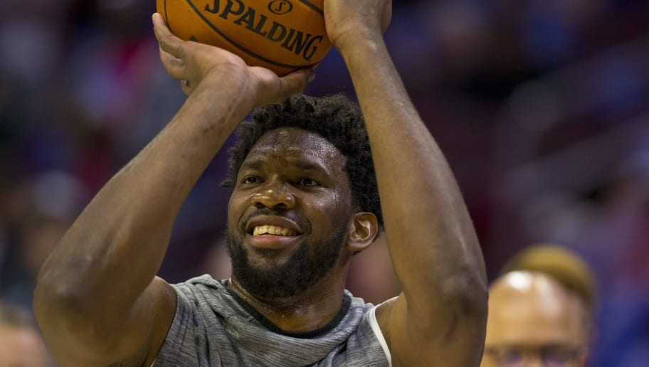 PHILADELPHIA, PA - MAY 09: Joel Embiid #21 of the Philadelphia 76ers warms up prior to Game Six of the Eastern Conference Semifinals against the Toronto Raptors at the Wells Fargo Center on May 9, 2019 in Philadelphia, Pennsylvania. NOTE TO USER: User expressly acknowledges and agrees that, by downloading and or using this photograph, User is consenting to the terms and conditions of the Getty Images License Agreement. (Photo by Mitchell Leff/Getty Images)