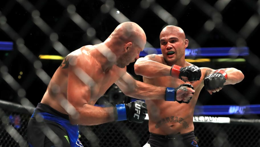 ANAHEIM, CA - JULY 29:  Robbie Lawler (black shorts) fights Donald Cerrone during their Welterweight bout at UFC 214 at Honda Center on July 29, 2017 in Anaheim, California.  (Photo by Sean M. Haffey/Getty Images)