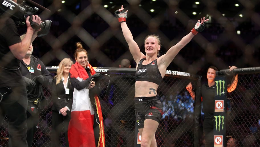 TORONTO, ON - DECEMBER 8:  Valentina Shevchenko of Kyrgyzstan celebrates following her fight against Joanna Jedrzejczyk of Poland in a flyweight bout during the UFC 231 event at Scotiabank Arena on December 8, 2018 in Toronto, Canada.  (Photo by Vaughn Ridley/Getty Images)