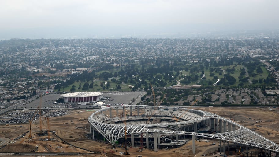 The LA Rams stadium is seen under construction in Inglewood, California on May 9, 2019. (Photo by Daniel SLIM / AFP)        (Photo credit should read DANIEL SLIM/AFP/Getty Images)