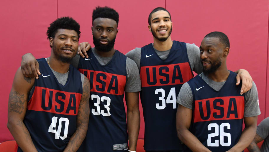 LAS VEGAS, NEVADA - AUGUST 06:  Boston Celtics teammates Marcus Smart #40, Jaylen Brown #33, Jayson Tatum #34 and Kemba Walker #26 of the 2019 USA Men's National Team pose together during a practice session at the 2019 USA Basketball Men's National Team World Cup minicamp at the Mendenhall Center at UNLV on August 6, 2019 in Las Vegas, Nevada.  (Photo by Ethan Miller/Getty Images)